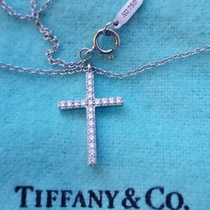 Tiffany & Co. 18k white gold cross necklace